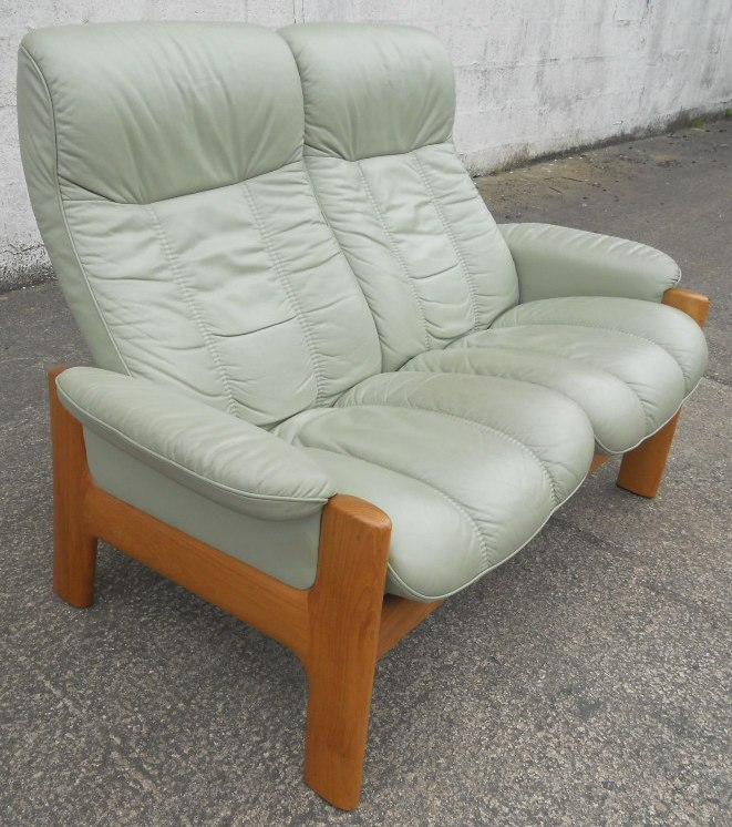 Sold Stressless Two Seater High Back Loveseat Leather